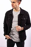 Мужская джинсовая куртка черная без декора