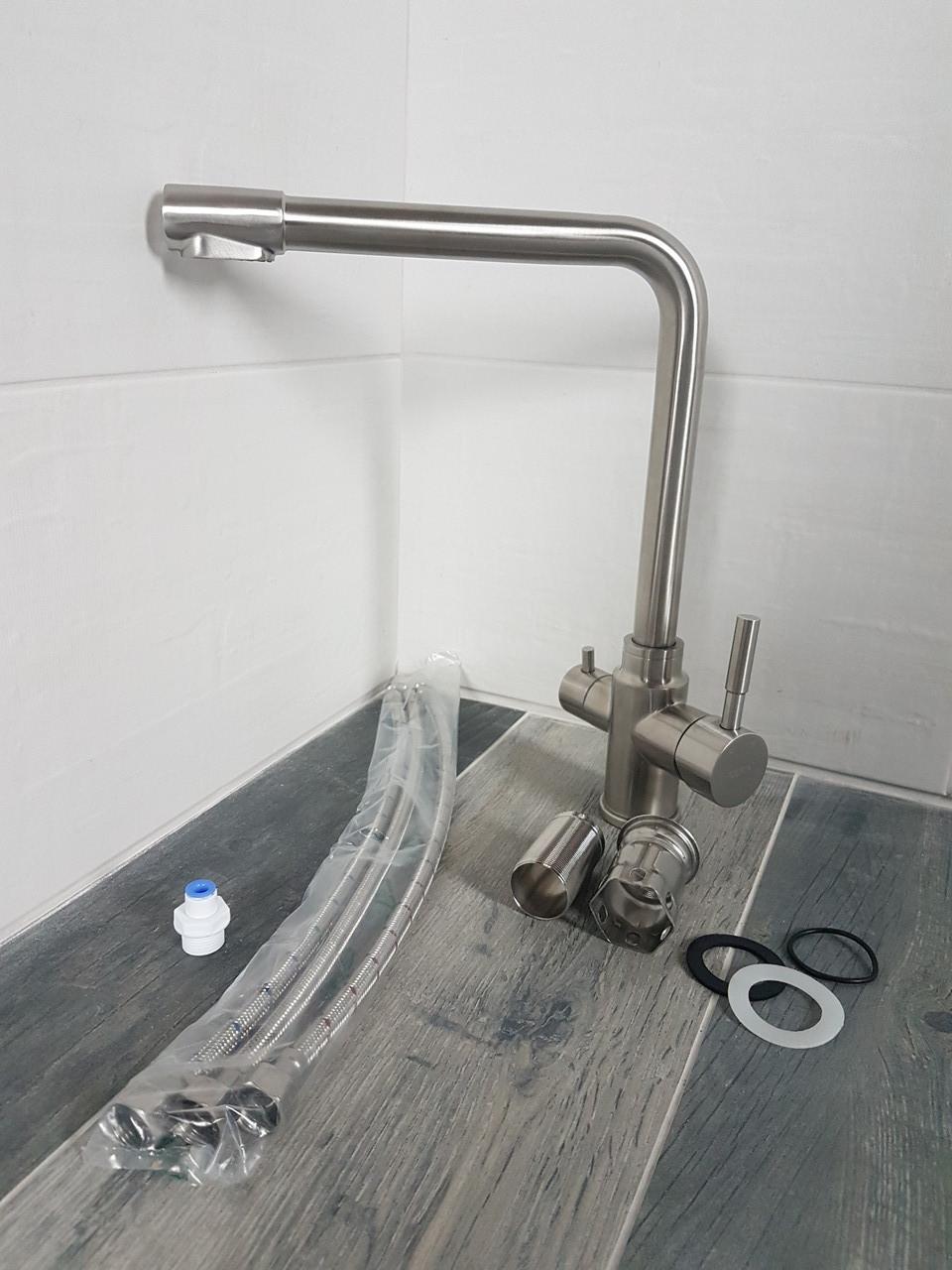 Смеситель для кухни с подключением фильтрованной воды Duo Flow Steel lux