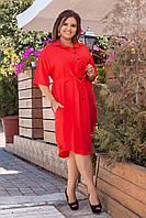 Платье рубашка женское батальное красное до колена