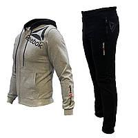 Спортивный мужской костюм Reebok с капюшоном бежевый, весна-лето, повседневный костюм | AD sport