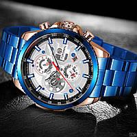 Часы механические с автоподзаводом мужские Forsining Синие с белым
