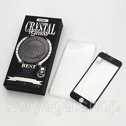 Комплект Remax Crystal Set Black (стекло + чехол) для IPhone 6/6s