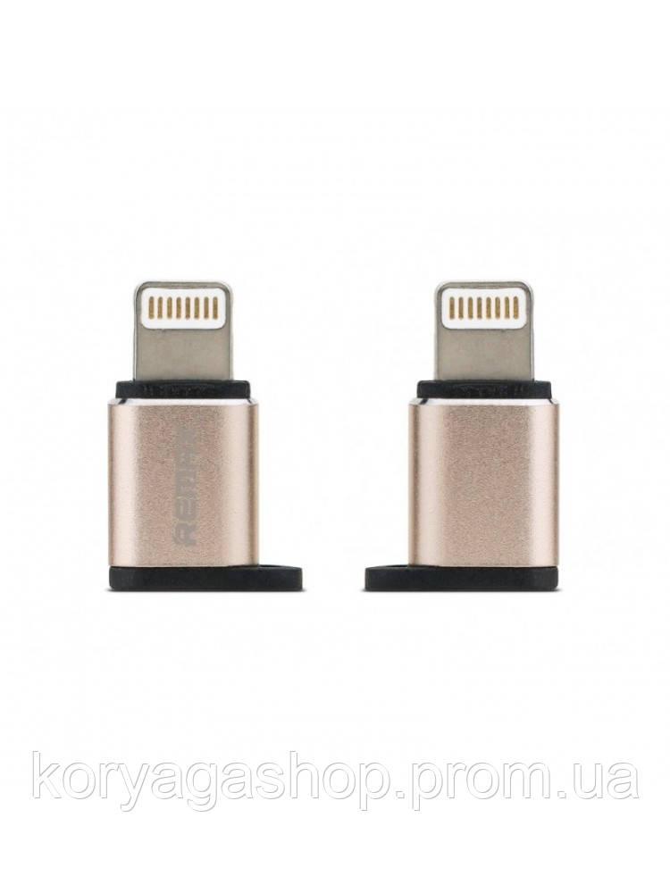 Переходник Remax Visual RA-USB2 MicroUSB to lightning Gold