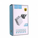 Сетевое зарядное устройство HOCO C20 YOKE 3 USB White, фото 4