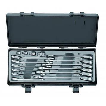 Набор рожково-накидных трещоточных ключей ,отогнутых+адаптеры 16 пред. (8-19 мм) Force 5164R F