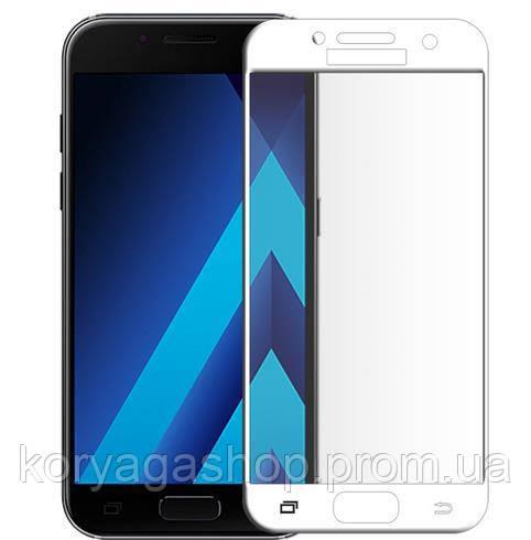 Защитное стекло Full Cover для Samsung Galaxy A3 2017 Белое