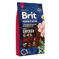 Сухой корм для взрослых собак крупных пород (весом от 25 до 45 кг) Brit Premium Adult L (курица) - 8 кг