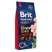 Сухой корм для взрослых собак крупных пород (весом от 25 до 45 кг) Brit Premium Adult L (курица) - 15 кг