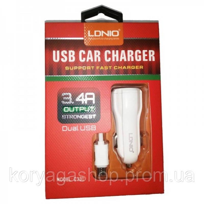Автомобильное зарядное устройство Ldnio C331 + Micro USB Cable (2USB 3.4A) White