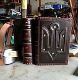 Ежедневник блокнот кожаная обложка герб тризуб ручная работа формат а5 оригинальный подарок, фото 7