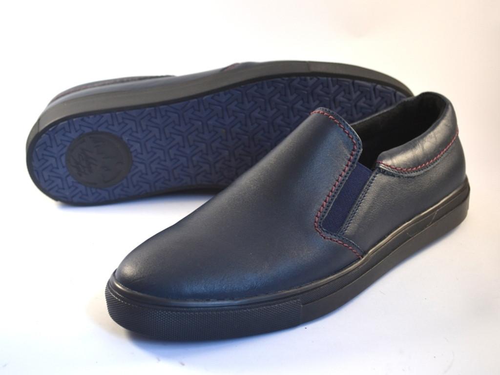 Кожаные мокасины мужские слипоны синие кожаные обувь больших размеров Rosso Avangard Marine Blu Slipy