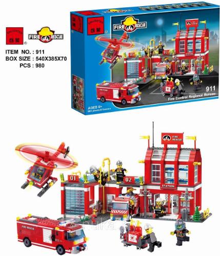 Конструктор Пожарная тревога Пожарная часть и техника Brick 911 980 деталей