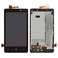 Дисплейный модуль (дисплей + сенсор) для Nokia Lumia 820, черный, оригинал