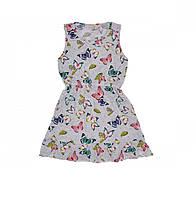 Платье детское трикотажное Бабочки серое