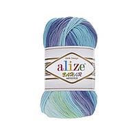 Пряжа Alize Bahar №1767 бирюзово-сини-фиолетовый