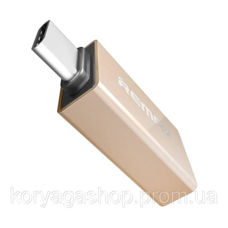 Переходник Remax USB(F) to Type-C (M) RA-OTG1 Gold