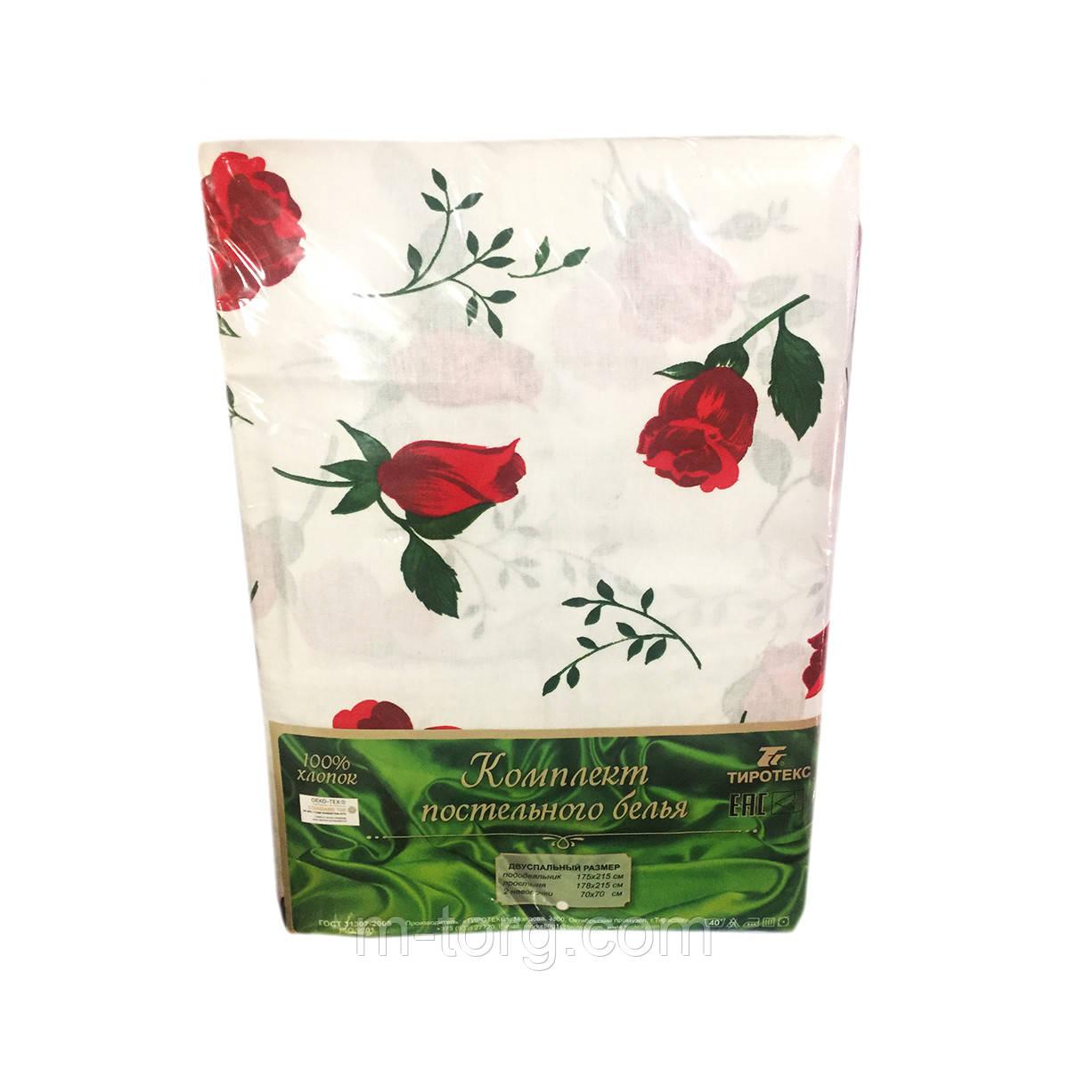 """""""Красные розы"""" Комплект постельного белья двуспальный 178*215 см 100%хлопок Tiratex Тирасполь"""