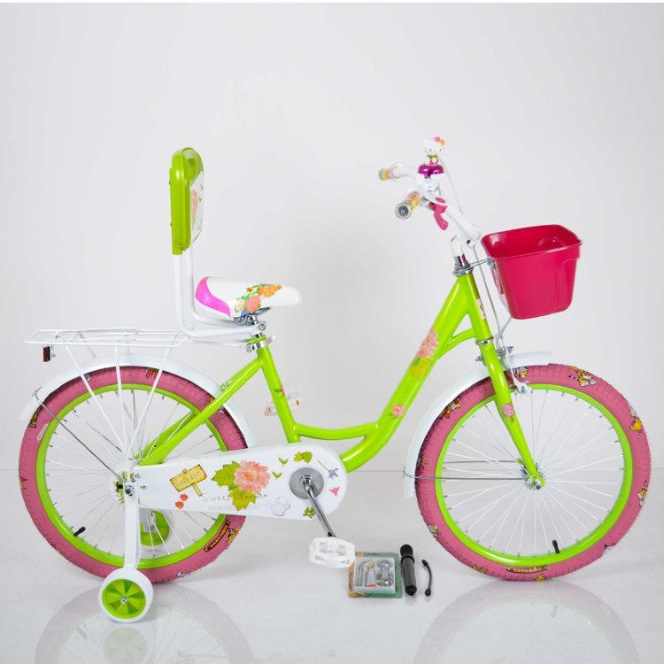 Детский двухколесный велосипед для девочки с корзинкой ROSES салатовый 18 дюймов