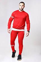 Мужской спортивный костюм красный с белым , змейки