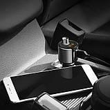 FM-трансмиттер + АЗУ  Hoco E19 Bluetooth Metal Gray, фото 3