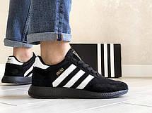 Мужские кроссовки Adidas Iniki,замшевые,темно синие с белым 45р, фото 2