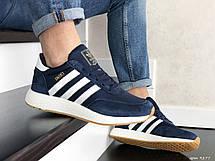 Мужские кроссовки Adidas Iniki,замшевые,темно синие с белым 45р, фото 3