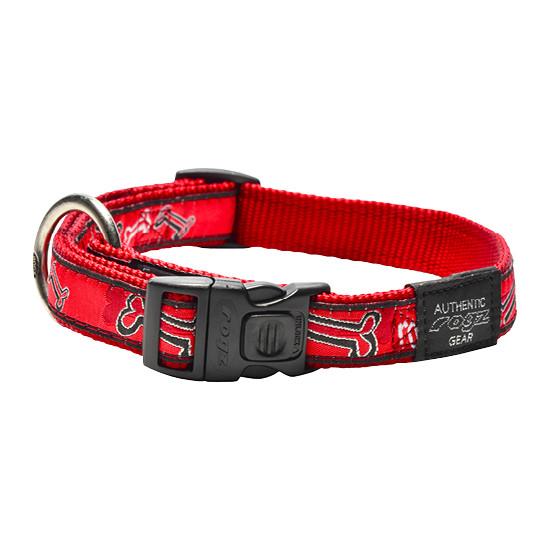Ошейник для собак,Fancy dress Красные косточки, SIDE RELEASE COLLAR (Рогз) M: 26-40 см