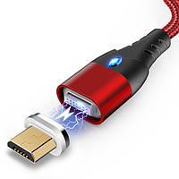 Магнитный кабель для зарядки и передачи данных под microUSB  Greenport M10A1 1m 3.0A Red