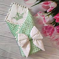 Демисезонный велюровый конверт-одеяло с выпиской для новорожденного.