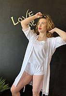 Качественный женский комплект пижамка с шортиками и халатиком на запах