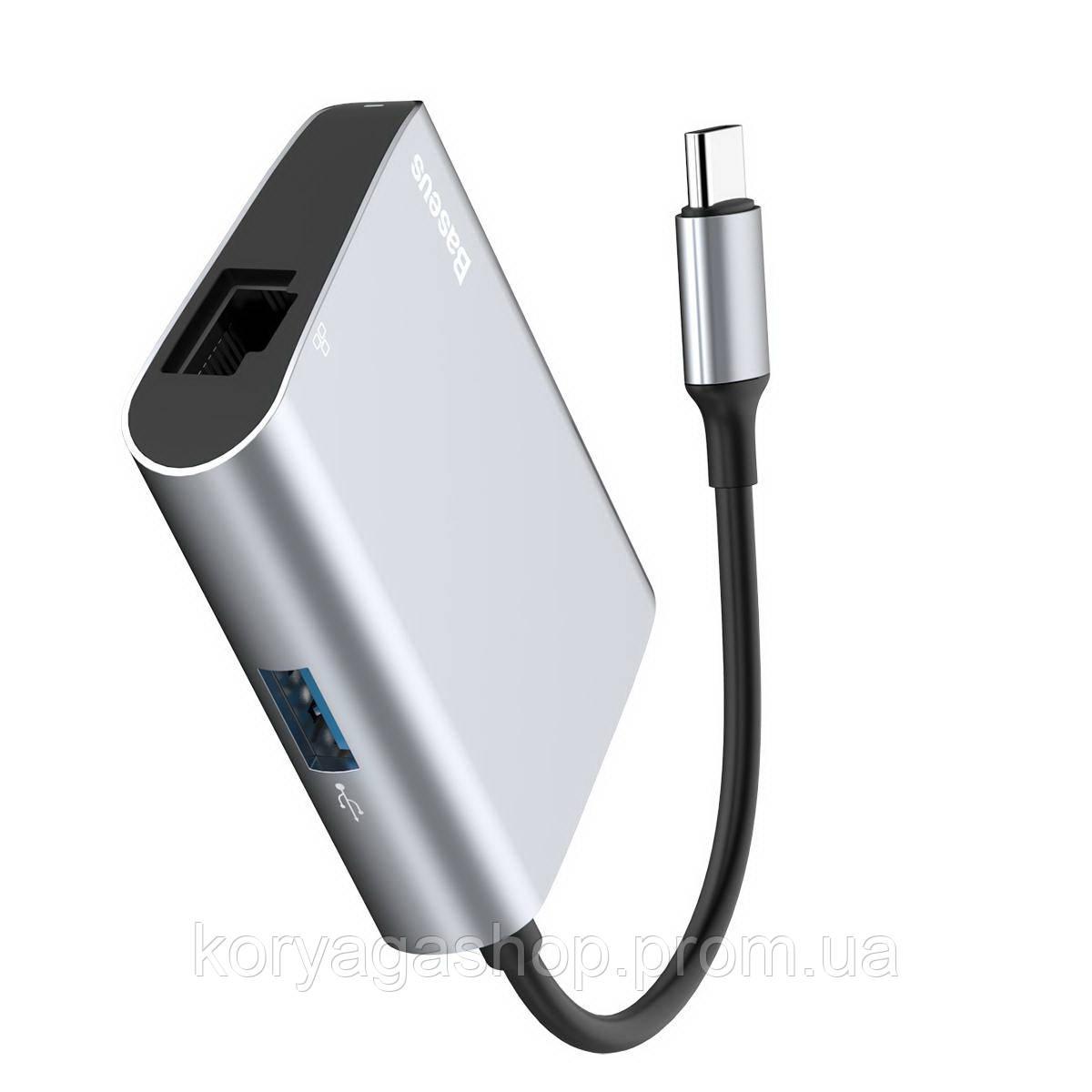 USB-хаб Baseus Enjoyment series Type-C to RJ45+USB3.0 HUB Adapter Gray