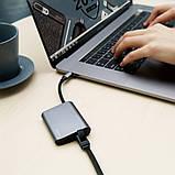 USB-хаб Baseus Enjoyment series Type-C to RJ45+USB3.0 HUB Adapter Gray, фото 2