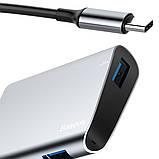 USB-хаб Baseus Enjoyment series Type-C to RJ45+USB3.0 HUB Adapter Gray, фото 3