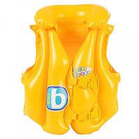 Детский Надувной Жилет Для Плавания с Застёжками и Подголовником Bestway 51х46 см., 3 Камеры, Винил (32034)
