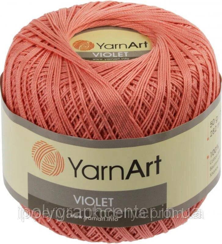 Пряжа Violet YarnArt 100% бавовна персиковий № 0329