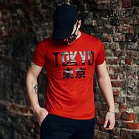 Футболка мужская Tokyo с иероглифами красная
