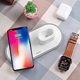 Беспроводное зарядное устройство (док-станция) 3в1 Hoco CW21 (для Apple Watch, iPhone, AirPods) White, фото 3