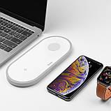 Беспроводное зарядное устройство 2в1 Hoco CW20 (для Apple Watch, iPhone) White, фото 2