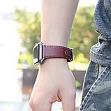 Kожаный ремешок Hoco WB04 Duke series для Apple Watch Series 1/2/3/4 (38/40mm) Wine Red, фото 2