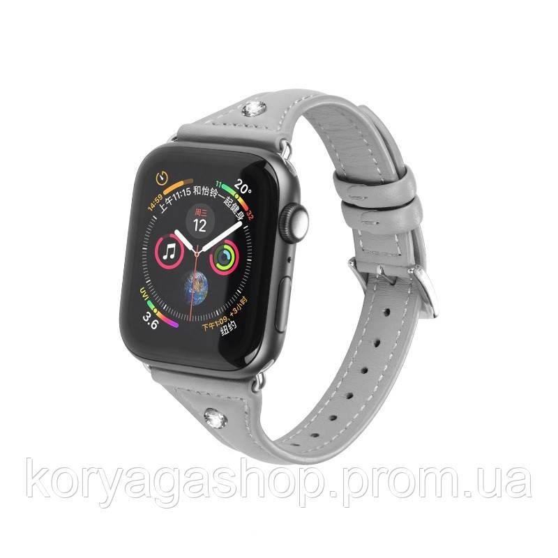 Kожаный ремешок Hoco WB05 Ocean wave для Apple Watch Series 1/2/3/4 (38/40mm) Gray