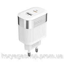Сетевое зарядное устройство Hoco C58A Prominent PD+QC3.0 White