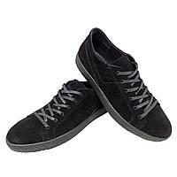 Кеды черные натуральная замша на шнуровке (7z), фото 1