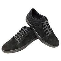 Кеды черные натуральный нубук на шнуровке (7n), фото 1