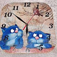 Часы, часы настенные, часы на кухню, ручная работа,синие коты