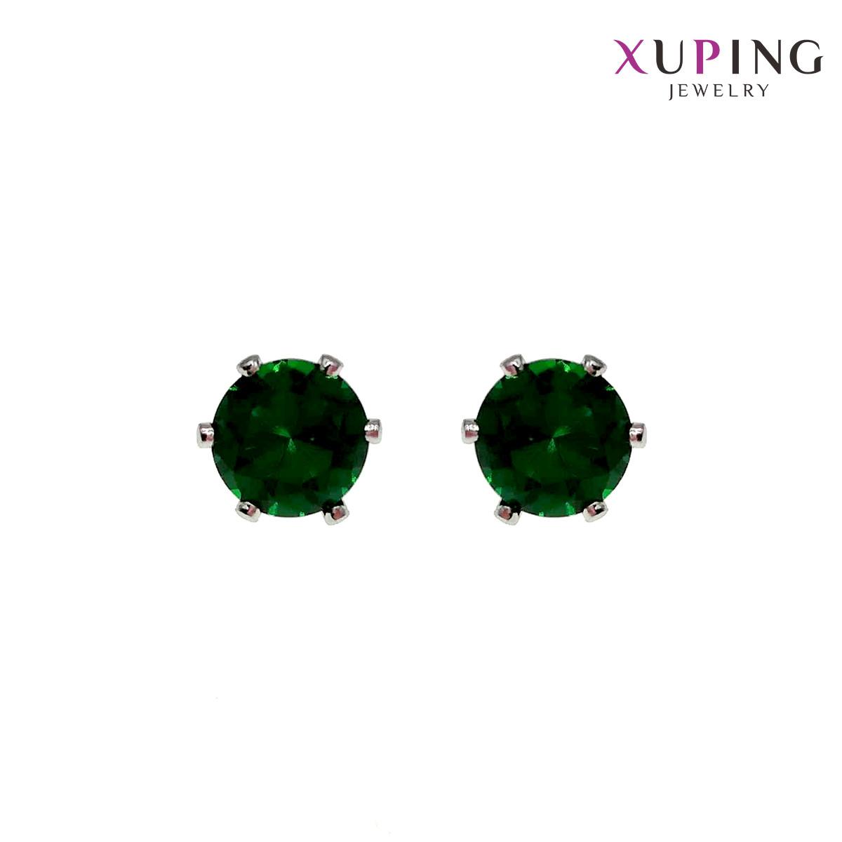 Серьги Xuping гвоздики, размер 7х7 мм, зеленые фианиты (куб. цирконий), вес 1,3 г, родий (белое золото),