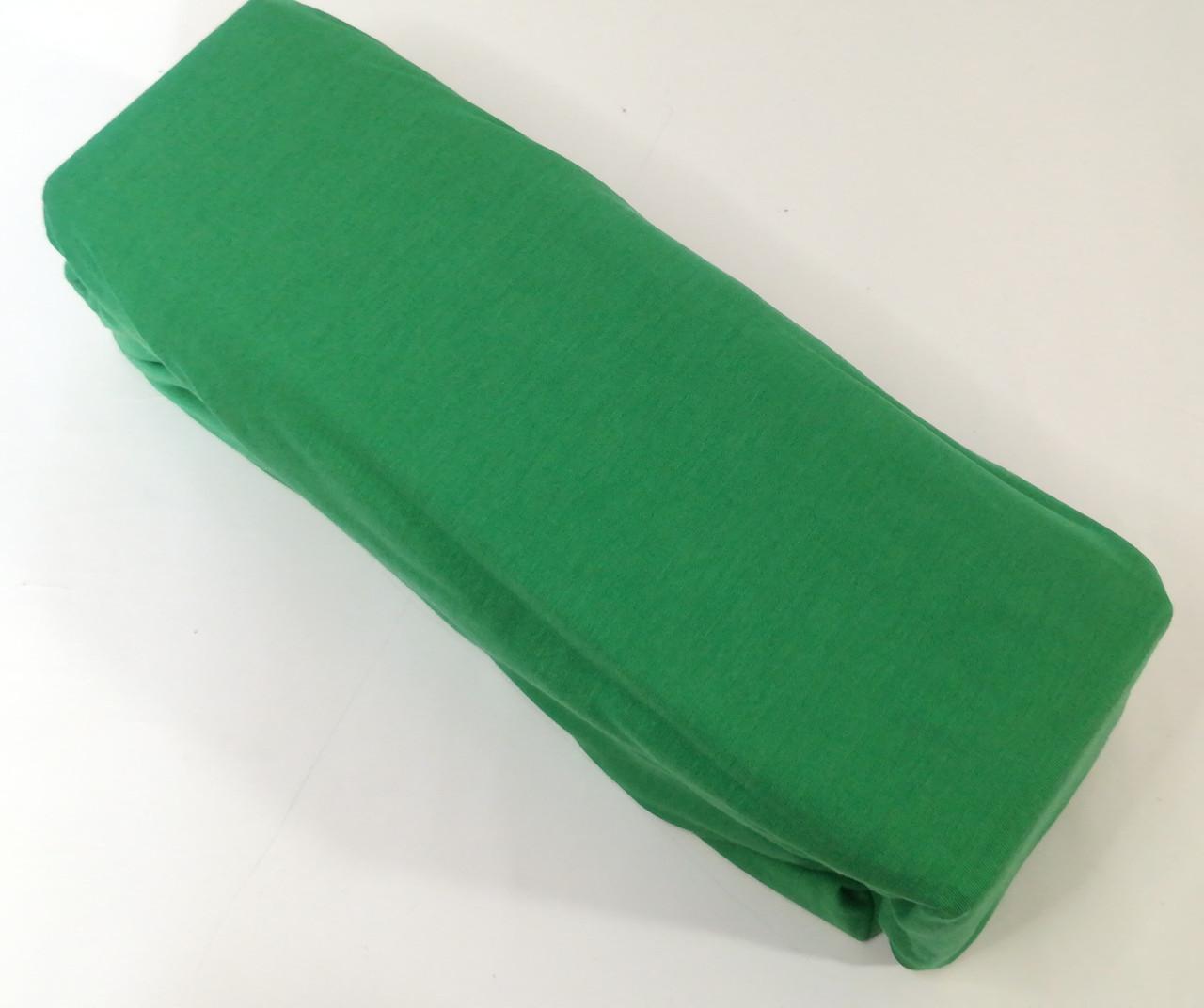 Простынь на резинке 160х200 см, Зеленая, трикотаж Хлопок, Турция
