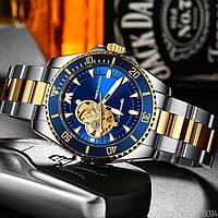 Мужские часы MEGALITH 8209M Silver-Gold-Blue, Механические часы с автоподзаводом