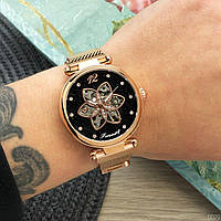 Часы наручные женские механические Forsining Бежевые с чёрным