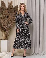 Летнее красивое принтованное платье с длинным рукавом, длина миди, три цвета, р.50,52,54,56 код 5184А