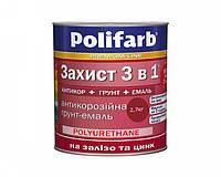 """Краска акриловая POLIFARB """"Защита 3 в 1"""" для металла и оцинковки вишневый 2.7 кг"""